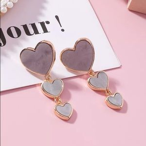BOGO! Gray 3 Heart Earrings
